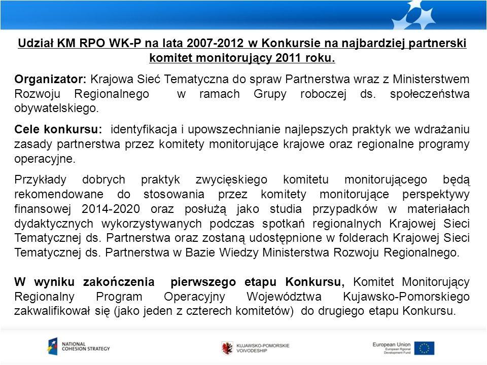 Udział KM RPO WK-P na lata 2007-2012 w Konkursie na najbardziej partnerski komitet monitorujący 2011 roku. Organizator: Krajowa Sieć Tematyczna do spr