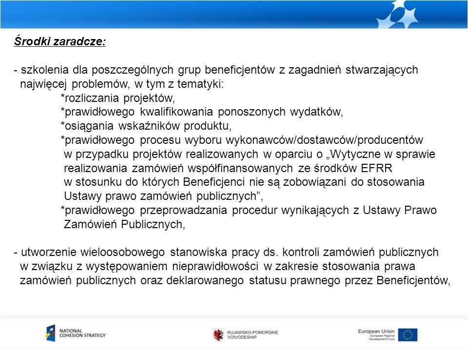 """Środki zaradcze: - szkolenia dla poszczególnych grup beneficjentów z zagadnień stwarzających najwięcej problemów, w tym z tematyki: *rozliczania projektów, *prawidłowego kwalifikowania ponoszonych wydatków, *osiągania wskaźników produktu, *prawidłowego procesu wyboru wykonawców/dostawców/producentów w przypadku projektów realizowanych w oparciu o """"Wytyczne w sprawie realizowania zamówień współfinansowanych ze środków EFRR w stosunku do których Beneficjenci nie są zobowiązani do stosowania Ustawy prawo zamówień publicznych , *prawidłowego przeprowadzania procedur wynikających z Ustawy Prawo Zamówień Publicznych, - utworzenie wieloosobowego stanowiska pracy ds."""