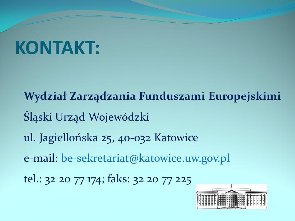 KONTAKT: Wydział Zarządzania Funduszami Europejskimi Śląski Urząd Wojewódzki ul.