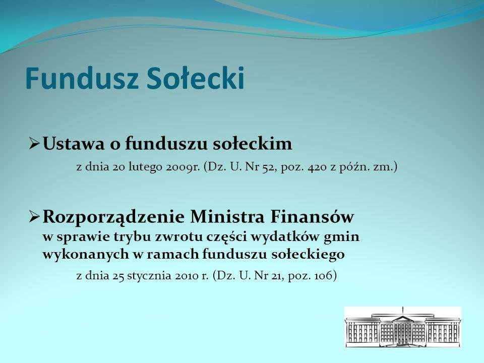 Fundusz Sołecki  Ustawa o funduszu sołeckim z dnia 20 lutego 2009r.