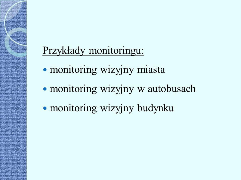 Przykłady monitoringu: monitoring wizyjny miasta monitoring wizyjny w autobusach monitoring wizyjny budynku