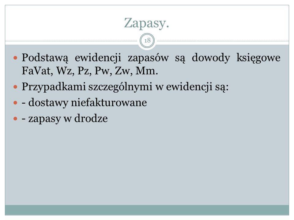 Zapasy. Podstawą ewidencji zapasów są dowody księgowe FaVat, Wz, Pz, Pw, Zw, Mm.