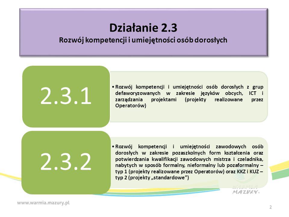 """Działanie 2.3 Rozwój kompetencji i umiejętności osób dorosłych Działanie 2.3 Rozwój kompetencji i umiejętności osób dorosłych Rozwój kompetencji i umiejętności osób dorosłych z grup defaworyzowanych w zakresie języków obcych, ICT i zarządzania projektami (projekty realizowane przez Operatorów) 2.3.1 Rozwój kompetencji i umiejętności zawodowych osób dorosłych w zakresie pozaszkolnych form kształcenia oraz potwierdzania kwalifikacji zawodowych mistrza i czeladnika, nabytych w sposób formalny, nieformalny lub pozaformalny – typ 1 (projekty realizowane przez Operatorów) oraz KKZ i KUZ – typ 2 (projekty """"standardowe ) 2.3.2 2"""