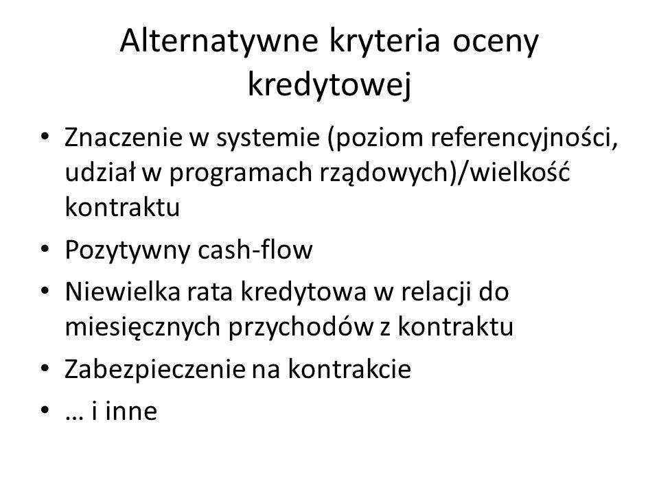 Alternatywne kryteria oceny kredytowej Znaczenie w systemie (poziom referencyjności, udział w programach rządowych)/wielkość kontraktu Pozytywny cash-flow Niewielka rata kredytowa w relacji do miesięcznych przychodów z kontraktu Zabezpieczenie na kontrakcie … i inne