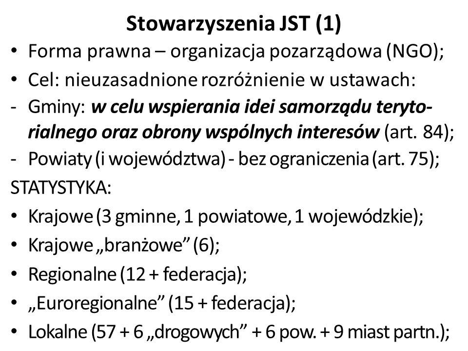 Stowarzyszenia JST (1) Forma prawna – organizacja pozarządowa (NGO); Cel: nieuzasadnione rozróżnienie w ustawach: -Gminy: w celu wspierania idei samorządu teryto- rialnego oraz obrony wspólnych interesów (art.
