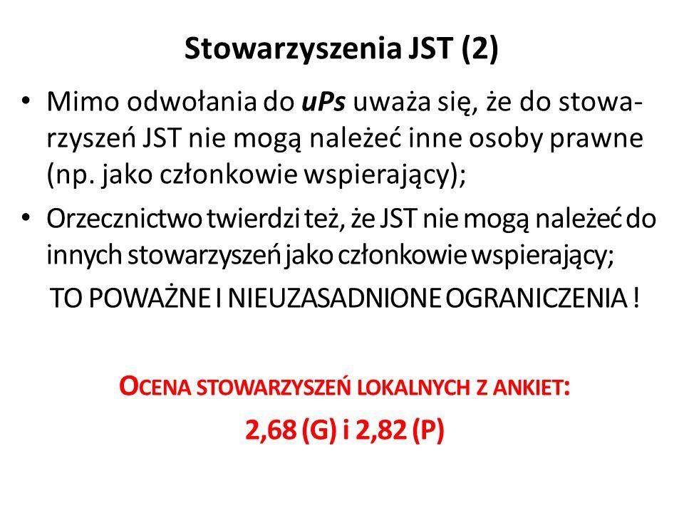Stowarzyszenia JST (2) Mimo odwołania do uPs uważa się, że do stowa- rzyszeń JST nie mogą należeć inne osoby prawne (np.