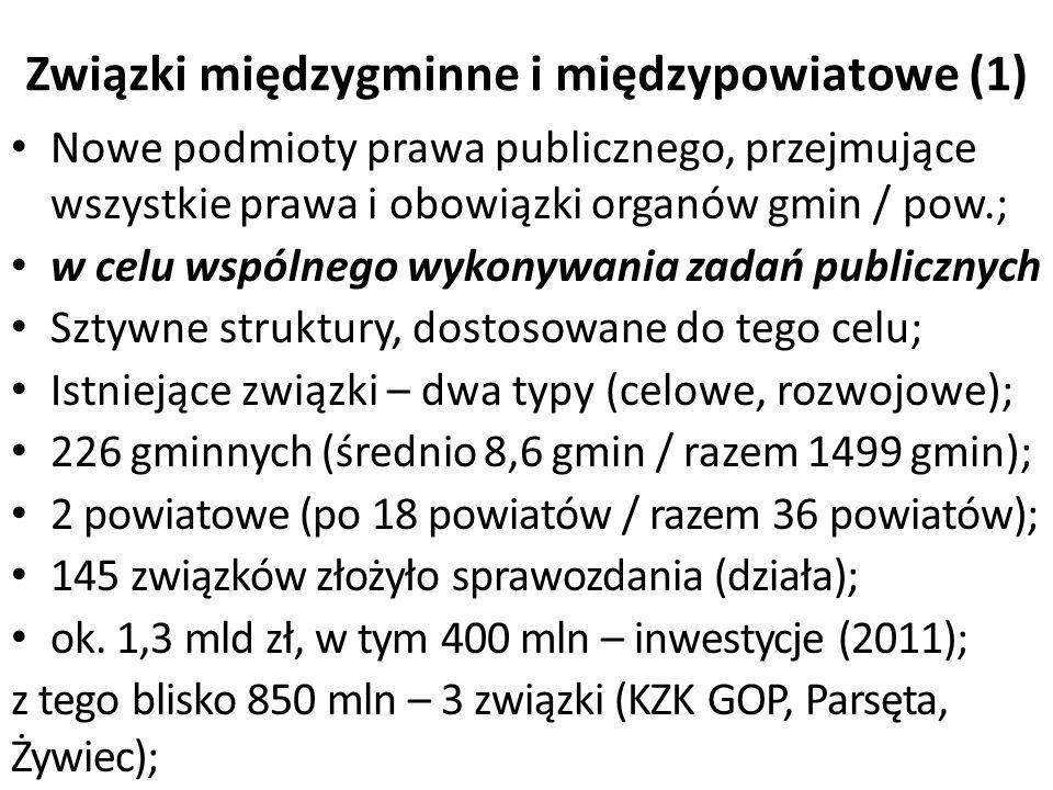 Związki międzygminne i międzypowiatowe (1) Nowe podmioty prawa publicznego, przejmujące wszystkie prawa i obowiązki organów gmin / pow.; w celu wspólnego wykonywania zadań publicznych Sztywne struktury, dostosowane do tego celu; Istniejące związki – dwa typy (celowe, rozwojowe); 226 gminnych (średnio 8,6 gmin / razem 1499 gmin); 2 powiatowe (po 18 powiatów / razem 36 powiatów); 145 związków złożyło sprawozdania (działa); ok.