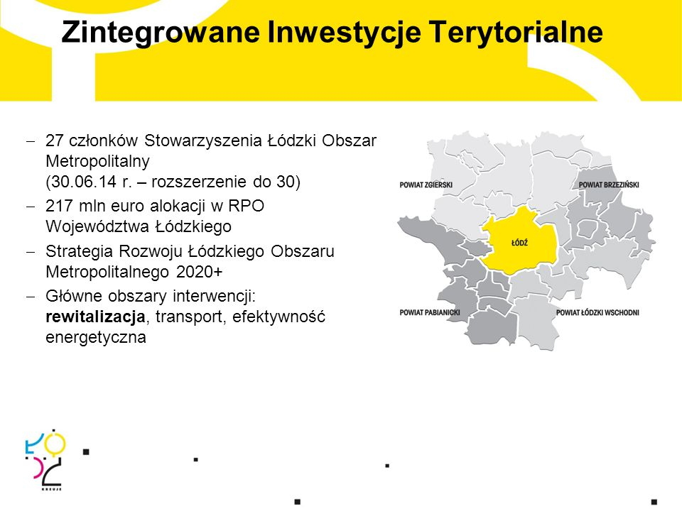 Zintegrowane Inwestycje Terytorialne  27 członków Stowarzyszenia Łódzki Obszar Metropolitalny (30.06.14 r.