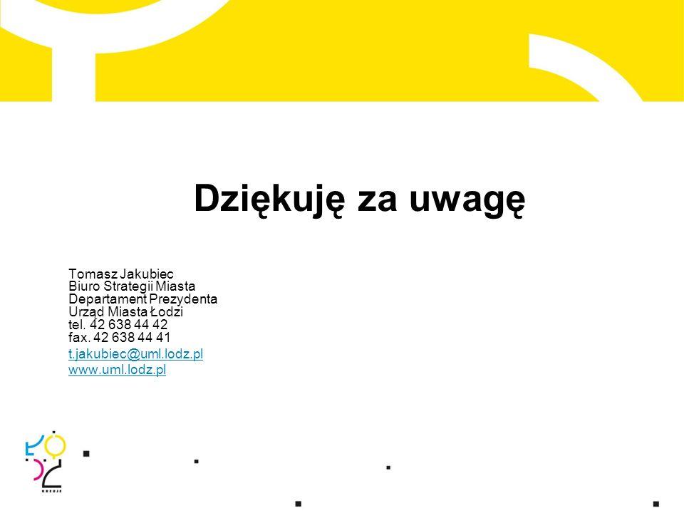 Dziękuję za uwagę Tomasz Jakubiec Biuro Strategii Miasta Departament Prezydenta Urząd Miasta Łodzi tel.