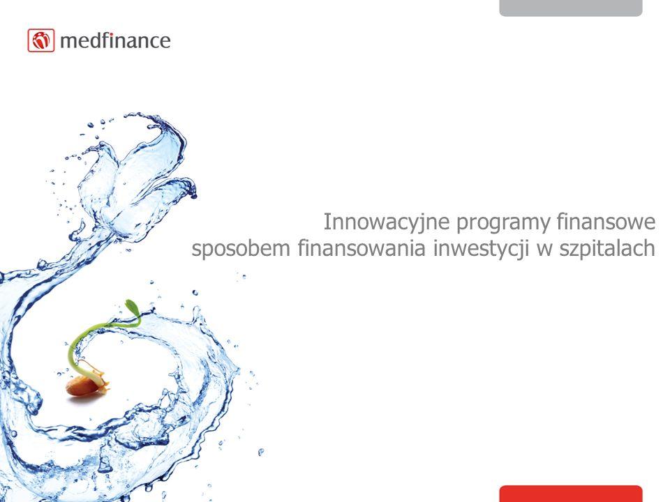 Wybór formy finansowania uzależniony jest: Sytuacji finansowej inwestora Rodzaju planowanej inwestycji Rentowności inwestycji Okresu realizacji inwestycji oraz okresu finansowania Rodzaju zabezpieczeń Formy finansowania na rynku medycznym Sposób finansowania: Dotacje UE Dotacja podmiotów tworzących Fundusze Norweskie Program Ministerstwa Zdrowia Kredyty Inwestycyjne Gotówka z oszczędności Inne źródła finansowania Plan inwestycyjny: Diagnostyka obrazowa Sprzęt medyczny Informatyzacja Termomodernizacja Wyposarzenie oddziałów Szpitalnych oraz bloków operacyjnych Dostosowanie do wymogów NFZ, standardów unijnych Budowa, rozbudowa Szpitala