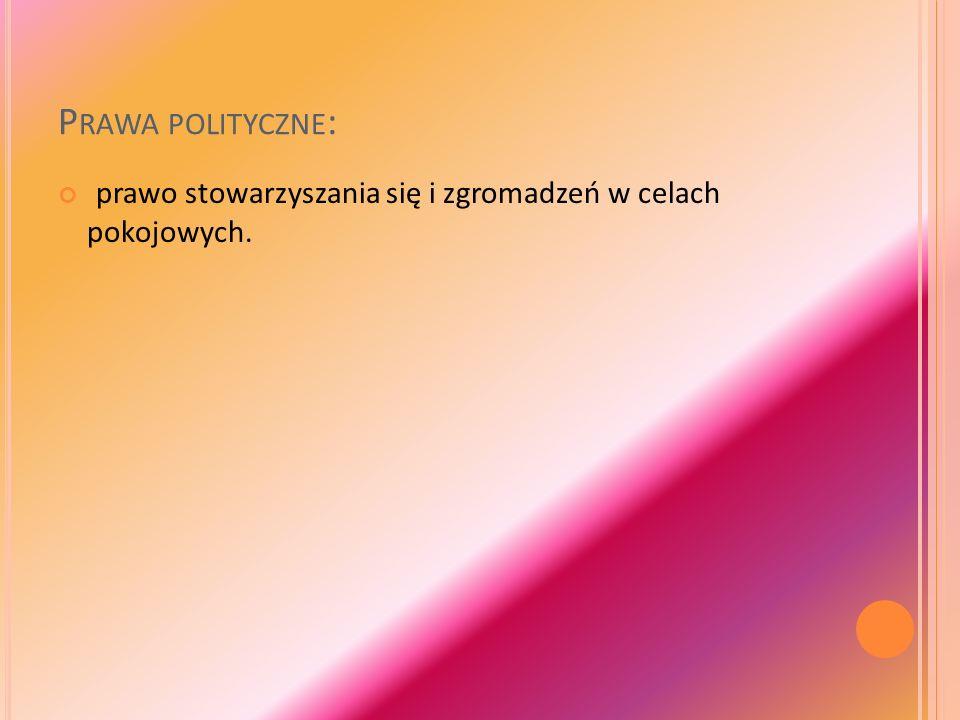 P RAWA POLITYCZNE : prawo stowarzyszania się i zgromadzeń w celach pokojowych.
