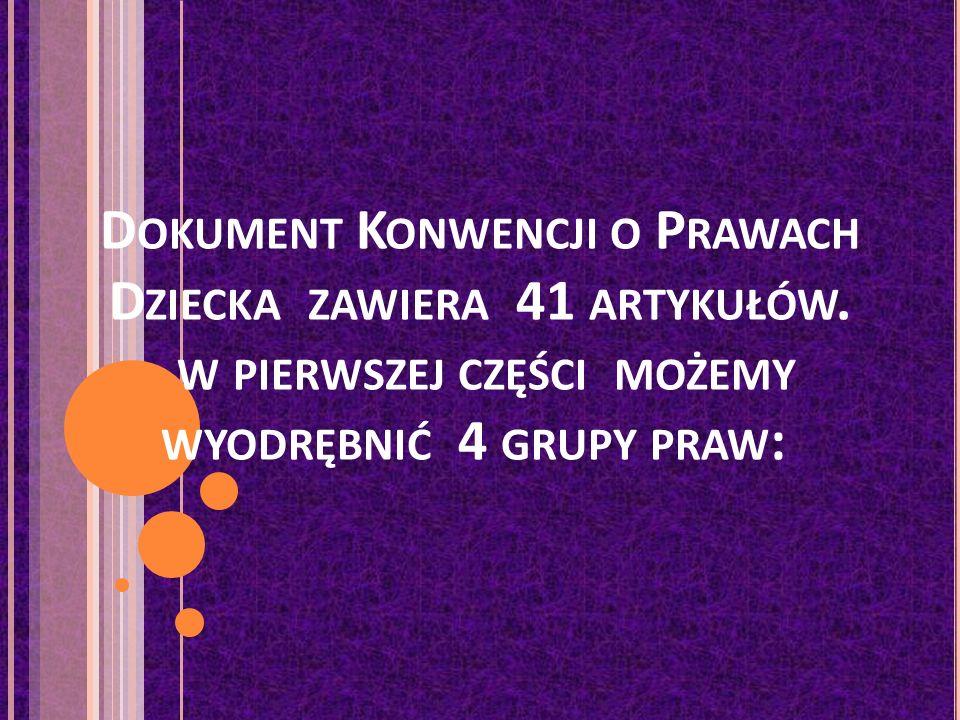 D OKUMENT K ONWENCJI O P RAWACH D ZIECKA ZAWIERA 41 ARTYKUŁÓW.