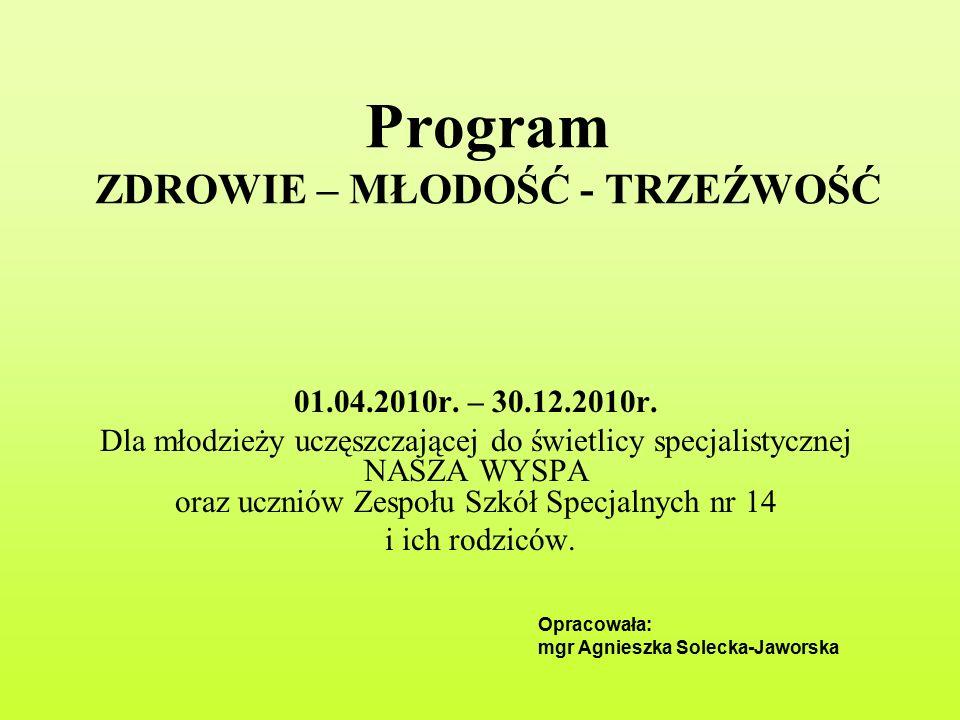 Program ZDROWIE – MŁODOŚĆ - TRZEŹWOŚĆ 01.04.2010r.