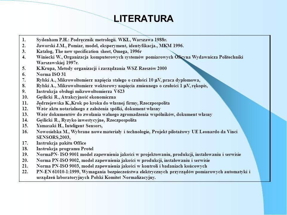 1.Sydenham P.H.: Podręcznik metrologii. WKŁ, Warszawa 1988r. 2.Jaworski J.M., Pomiar, model, eksperyment, identyfikacja., MKM 1996. 3.Katalog, The new