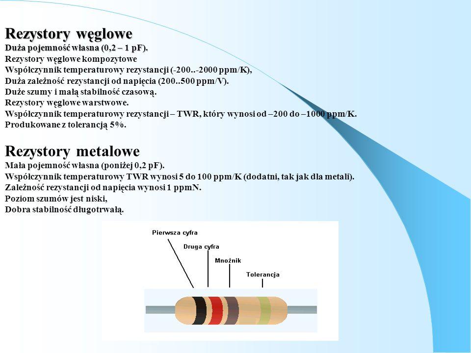 Rezystory węglowe Duża pojemność własna (0,2 – 1 pF). Rezystory węglowe kompozytowe Współczynnik temperaturowy rezystancji (-200..-2000 ppm/K), Duża z