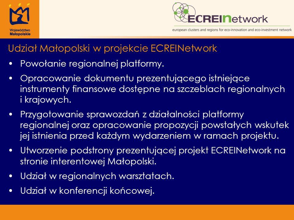 Udział Małopolski w projekcie ECREINetwork Powołanie regionalnej platformy. Opracowanie dokumentu prezentującego istniejące instrumenty finansowe dost