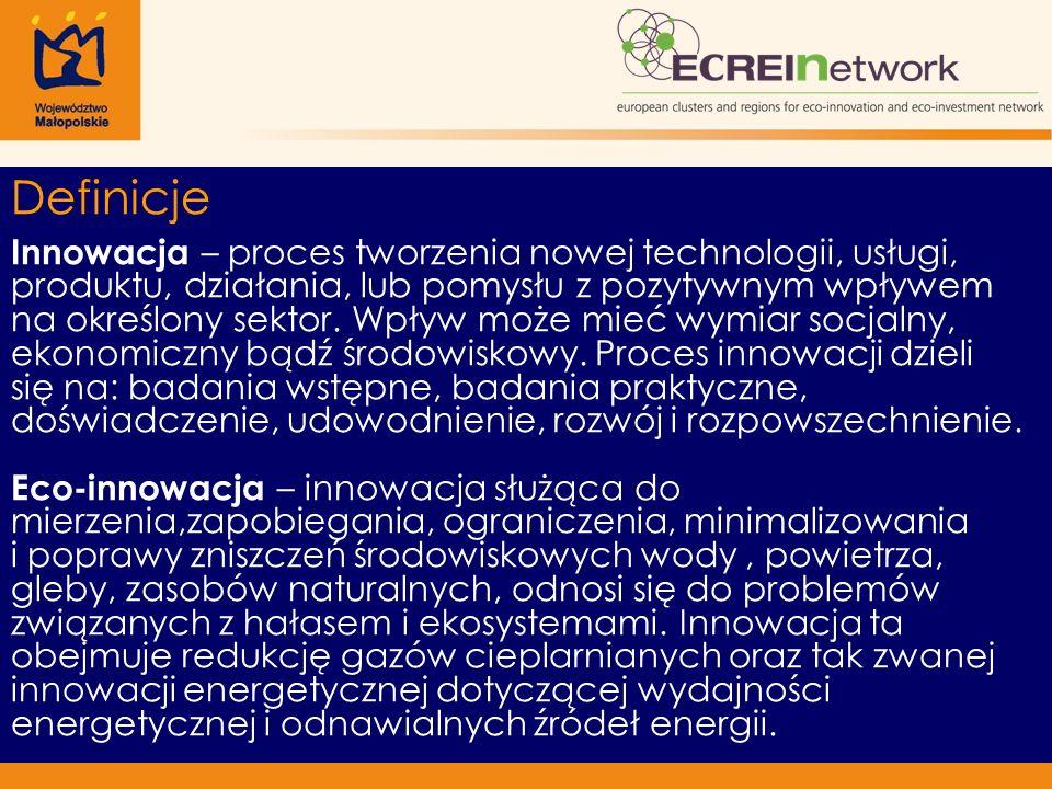 Definicje Innowacja – proces tworzenia nowej technologii, usługi, produktu, działania, lub pomysłu z pozytywnym wpływem na określony sektor.