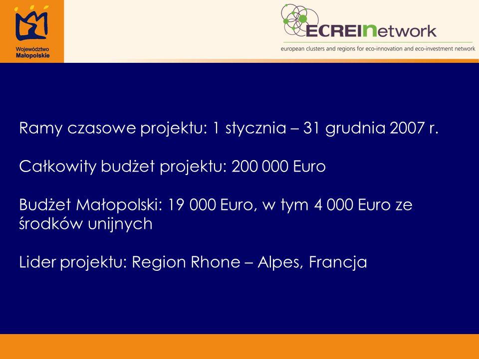 Ramy czasowe projektu: 1 stycznia – 31 grudnia 2007 r. Całkowity budżet projektu: 200 000 Euro Budżet Małopolski: 19 000 Euro, w tym 4 000 Euro ze śro