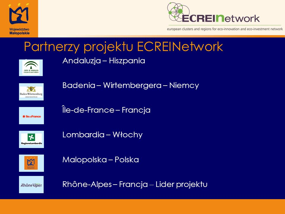 Partnerzy projektu ECREINetwork Andaluzja – Hiszpania Badenia – Wirtembergera – Niemcy Île-de-France – Francja Lombardia – Włochy Malopolska – Polska Rhône-Alpes – Francja – Lider projektu