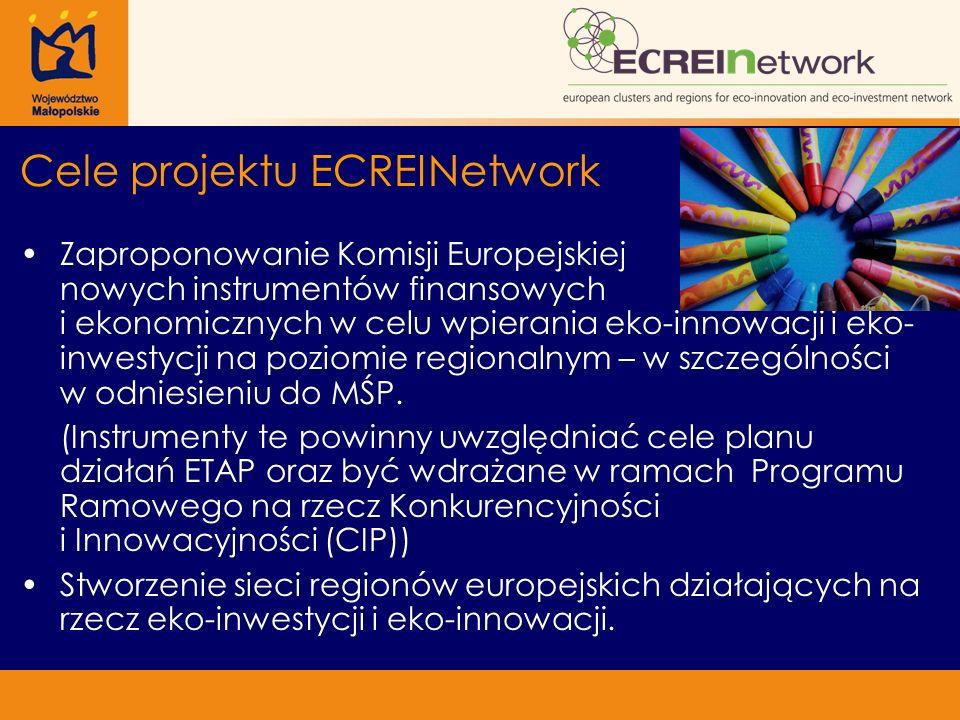 Cele projektu ECREINetwork Zaproponowanie Komisji Europejskiej nowych instrumentów finansowych i ekonomicznych w celu wpierania eko-innowacji i eko- inwestycji na poziomie regionalnym – w szczególności w odniesieniu do MŚP.