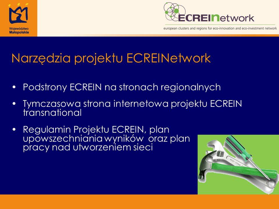 Narzędzia projektu ECREINetwork Podstrony ECREIN na stronach regionalnych Tymczasowa strona internetowa projektu ECREIN transnational Regulamin Projek