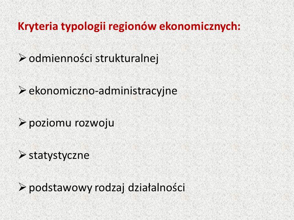 Kryteria typologii regionów ekonomicznych:  odmienności strukturalnej  ekonomiczno-administracyjne  poziomu rozwoju  statystyczne  podstawowy rodzaj działalności