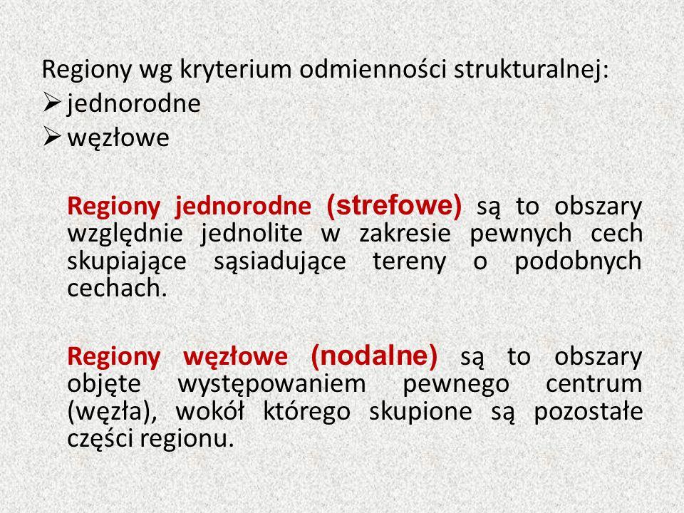 Regiony wg kryterium odmienności strukturalnej:  jednorodne  węzłowe Regiony jednorodne (strefowe) są to obszary względnie jednolite w zakresie pewn