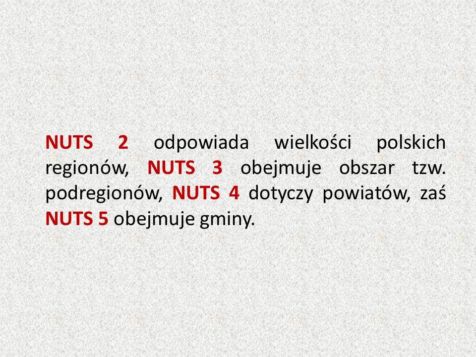 NUTS 2 odpowiada wielkości polskich regionów, NUTS 3 obejmuje obszar tzw. podregionów, NUTS 4 dotyczy powiatów, zaś NUTS 5 obejmuje gminy.