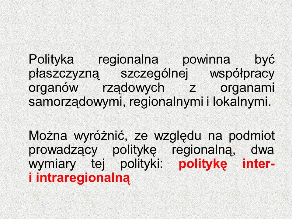 Polityka regionalna powinna być płaszczyzną szczególnej współpracy organów rządowych z organami samorządowymi, regionalnymi i lokalnymi. Można wyróżni