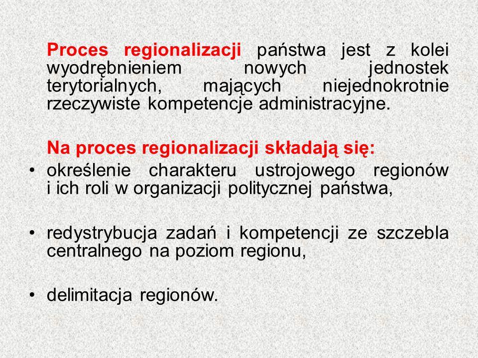 Proces regionalizacji państwa jest z kolei wyodrębnieniem nowych jednostek terytorialnych, mających niejednokrotnie rzeczywiste kompetencje administracyjne.