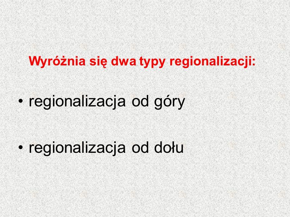 Wyróżnia się dwa typy regionalizacji: regionalizacja od góry regionalizacja od dołu