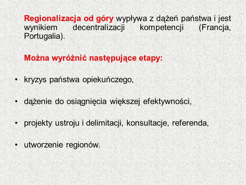 Regionalizacja od góry wypływa z dążeń państwa i jest wynikiem decentralizacji kompetencji (Francja, Portugalia). Można wyróżnić następujące etapy: kr