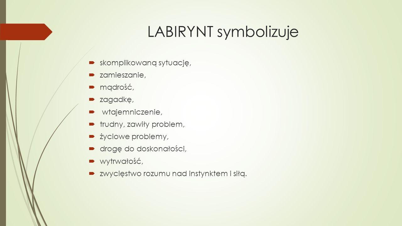 LABIRYNT symbolizuje  skomplikowaną sytuację,  zamieszanie,  mądrość,  zagadkę,  wtajemniczenie,  trudny, zawiły problem,  życiowe problemy,  drogę do doskonałości,  wytrwałość,  zwycięstwo rozumu nad instynktem i siłą.