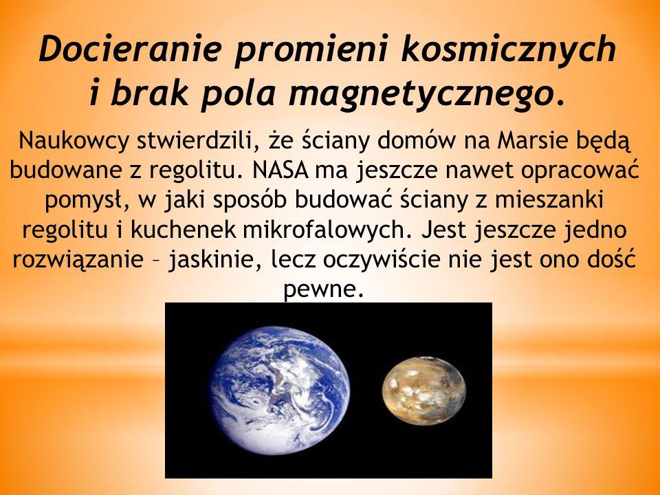 Docieranie promieni kosmicznych i brak pola magnetycznego.