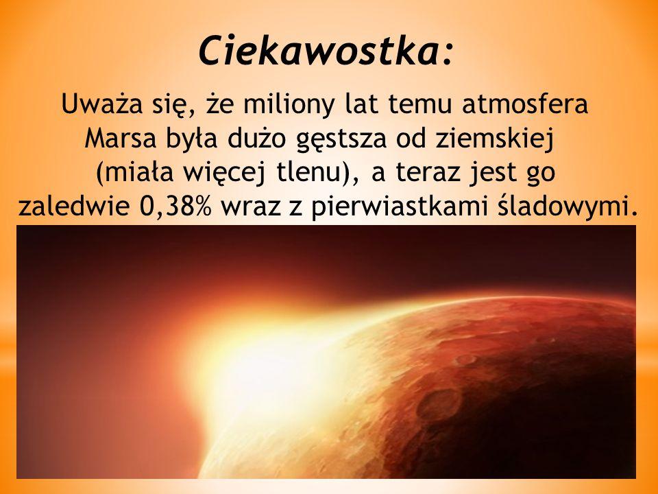 Ciekawostka: Uważa się, że miliony lat temu atmosfera Marsa była dużo gęstsza od ziemskiej (miała więcej tlenu), a teraz jest go zaledwie 0,38% wraz z