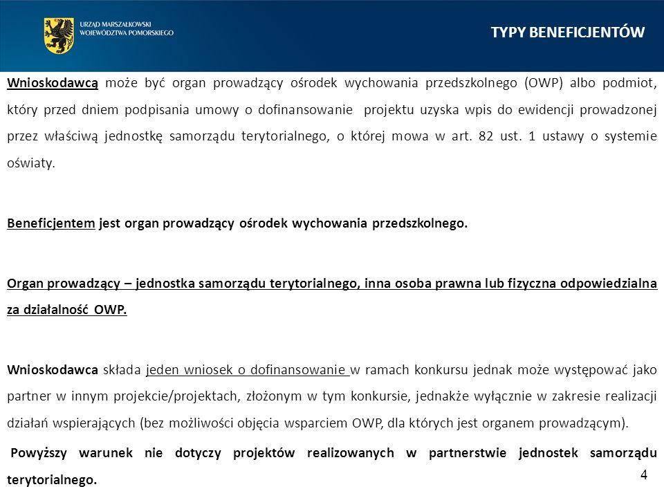 TYPY BENEFICJENTÓW Wnioskodawcą może być organ prowadzący ośrodek wychowania przedszkolnego (OWP) albo podmiot, który przed dniem podpisania umowy o d