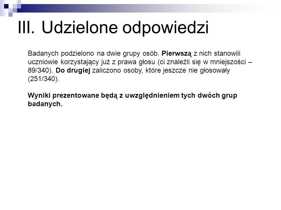 III. Udzielone odpowiedzi Badanych podzielono na dwie grupy osób.