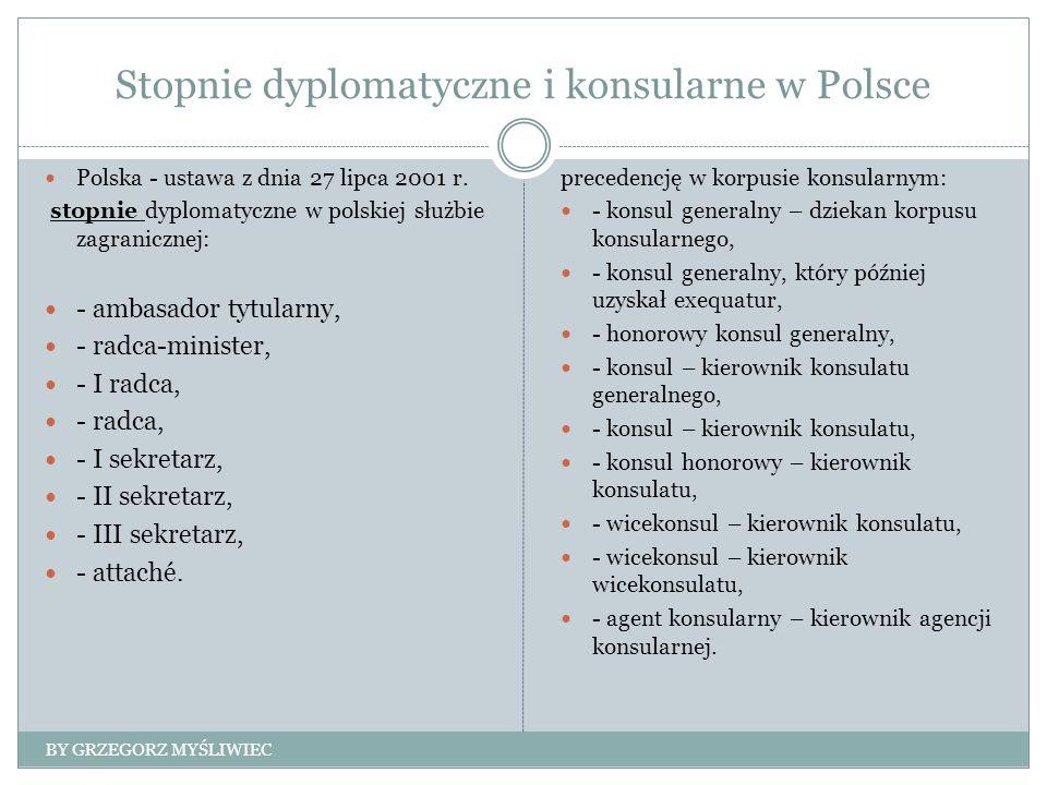 Stopnie dyplomatyczne i konsularne w Polsce Polska - ustawa z dnia 27 lipca 2001 r.