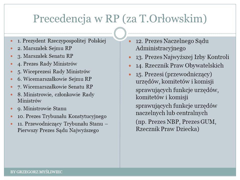 Precedencja w RP (za T.Orłowskim) 1. Prezydent Rzeczypospolitej Polskiej 2.