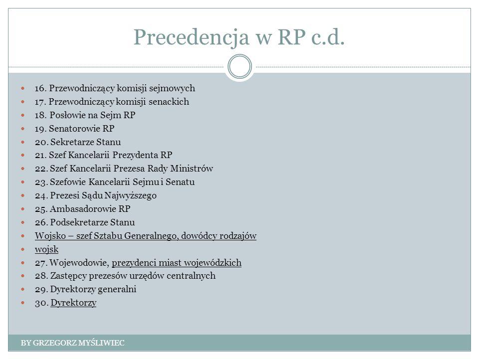 Precedencja w RP c.d. 16. Przewodniczący komisji sejmowych 17.