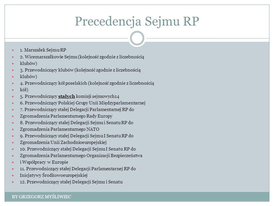 Precedencja Sejmu RP 1. Marszałek Sejmu RP 2.