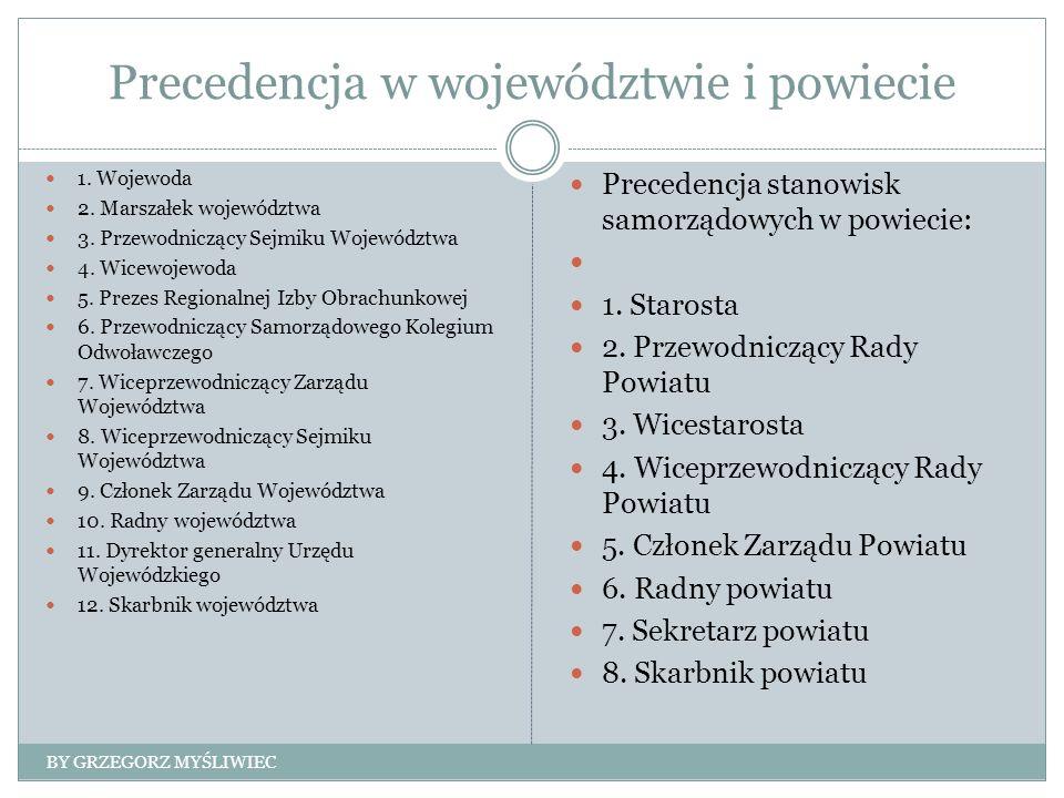 Precedencja w województwie i powiecie 1. Wojewoda 2.