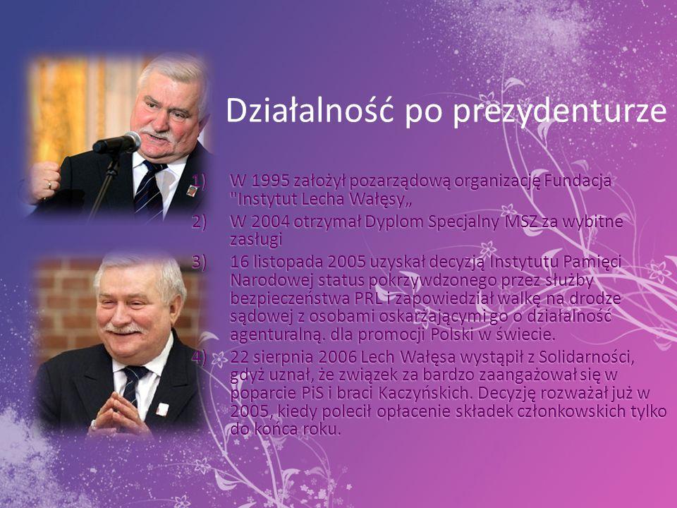 Odznaczenia Lech Wałęsa z tytułu wyboru na urząd Prezydenta RP stał się kawalerem, wielkim mistrzem orderu i przewodniczącym kapituł Orderu Orła Białego oraz Orderu Odrodzenia Polski.