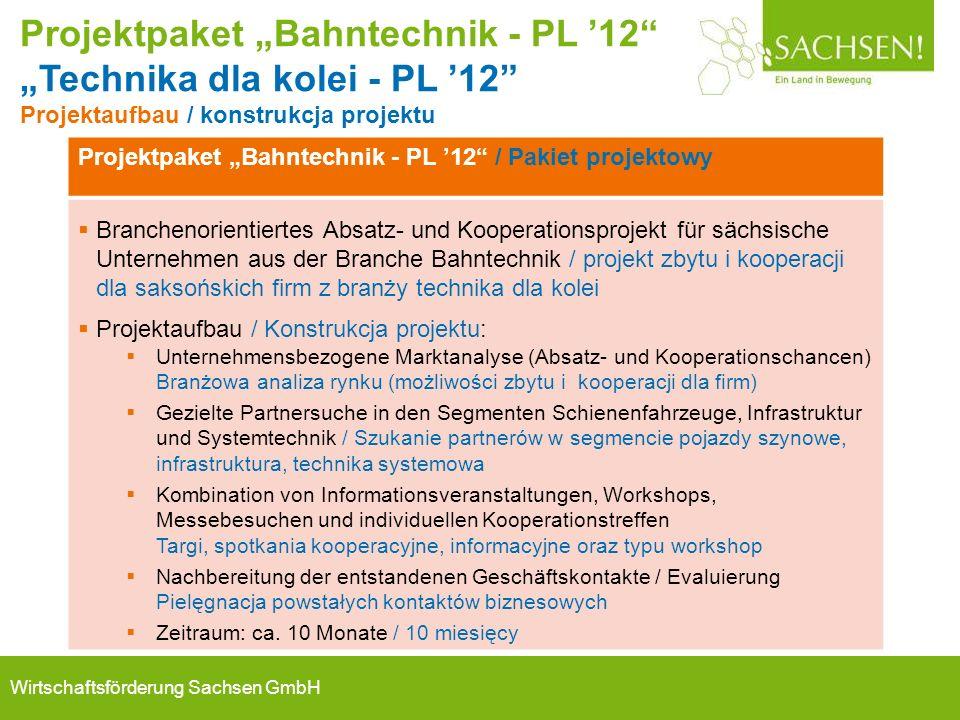 """Projektpaket """"Bahntechnik - PL '12"""" / Pakiet projektowy  Branchenorientiertes Absatz- und Kooperationsprojekt für sächsische Unternehmen aus der Bran"""