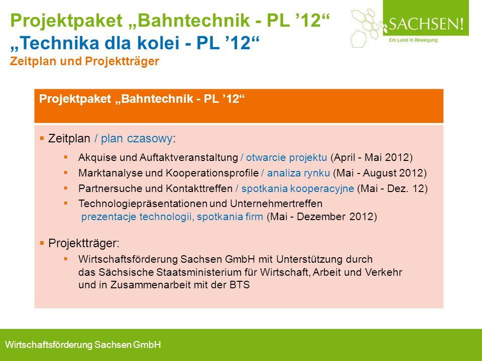 """Wirtschaftsförderung Sachsen GmbH Projektpaket """"Bahntechnik - PL '12""""  Zeitplan / plan czasowy:  Akquise und Auftaktveranstaltung / otwarcie projekt"""