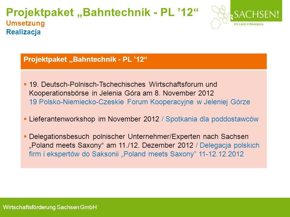 """Wirtschaftsförderung Sachsen GmbH Projektpaket """"Bahntechnik - PL '12""""  19. Deutsch-Polnisch-Tschechisches Wirtschaftsforum und Kooperationsbörse in J"""