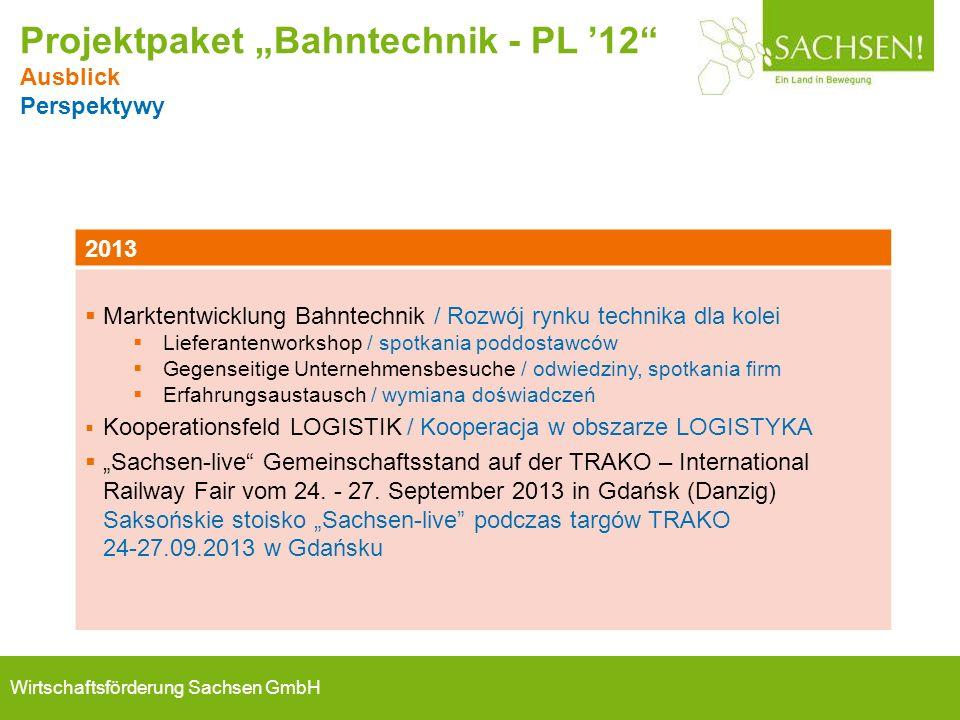 Wirtschaftsförderung Sachsen GmbH 2013  Marktentwicklung Bahntechnik / Rozwój rynku technika dla kolei  Lieferantenworkshop / spotkania poddostawców