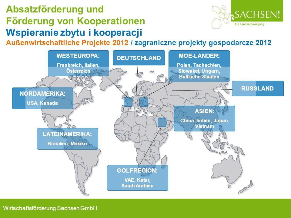Wirtschaftsförderung Sachsen GmbH Absatzförderung und Förderung von Kooperationen Wspieranie zbytu i kooperacji Außenwirtschaftliche Projekte 2012 / z