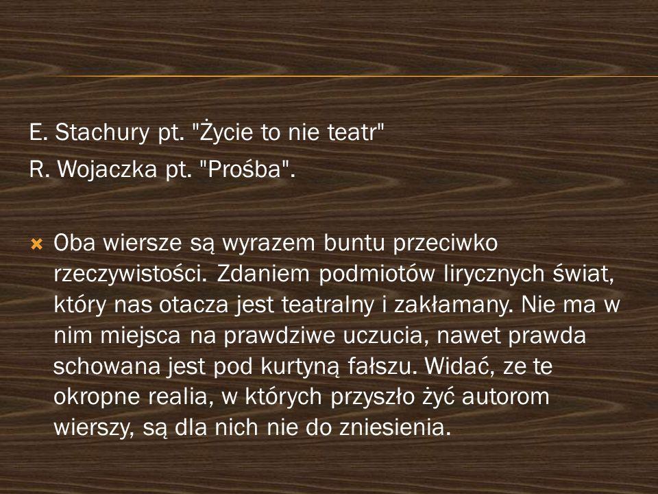 E. Stachury pt. Życie to nie teatr R. Wojaczka pt.