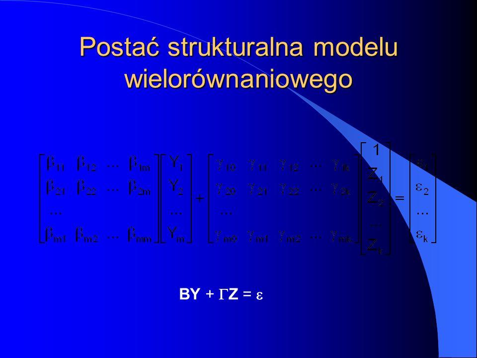 Postać strukturalna modelu wielorównaniowego BY +  Z = 